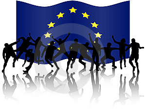 People In Action And Flag Royalty Free Stock Images - Image: 8094269