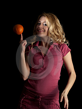 Teen Beauty Spinning Orange Stock Image - Image: 8097331