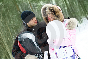 Young Couple With Snowboards Royalty Free Stock Images - Image: 8098379
