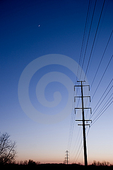 Electric Lines At Sunset Copyspace Stock Images - Image: 8099334