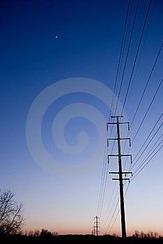 Elektrische Linien Bei Sonnenuntergang Copyspace Stockbilder - Bild: 8099334