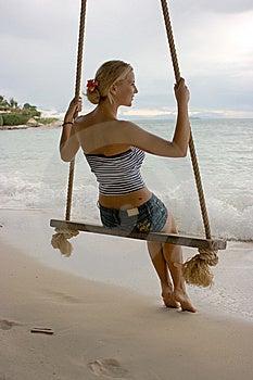 Girl On Rope Swings Stock Image - Image: 8099851