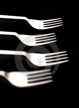 Forks On Black Royalty Free Stock Photography - Image: 814847