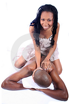 African American Couple at Spa Stock Photos