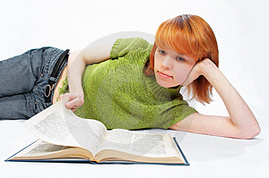 Young Girl Read The Book On White Royalty Free Stock Image - Image: 817896
