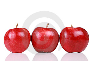 Three Shiny Red Apples Royalty Free Stock Photography - Image: 8103107