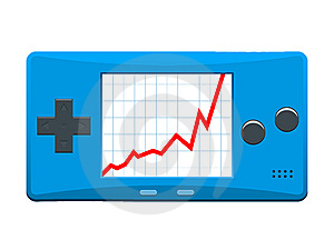 Portable Games Console With Ascending Stock Market Stock Photos - Image: 8107053