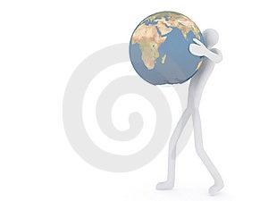 3D_man_with_globe Stock Photos - Image: 8107823