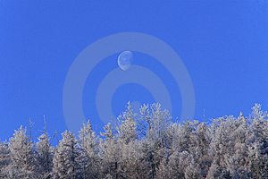 Snow Mountain And The Moon Royalty Free Stock Photography - Image: 8109247