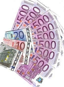 Euro Waaier 500 En Anderen Nemen Van Nota Stock Afbeeldingen - Afbeelding: 8111704