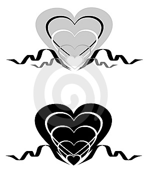 Abstract Hearts With An Ornament. Royalty Free Stock Images - Image: 8111999