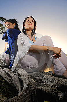 Two Females Relaxing Outdoors Royalty Free Stock Photography - Image: 8112267