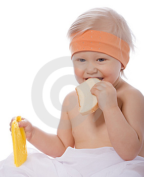 A Girl Eats A Sandwich With Cheese Stock Image - Image: 8113011
