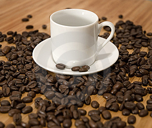 Espresso Coffee Beans With Cup And Saucer Royalty Free Stock Photos - Image: 8114458