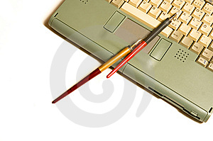 Laptop, Pen Royalty Free Stock Photos - Image: 8115718