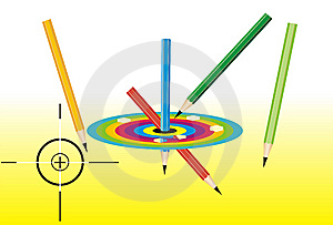 Colored Pencils And Dartboard Royalty Free Stock Image - Image: 8116006