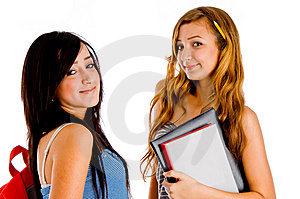 Students posing with bag and books Free Stock Photography