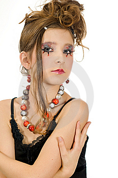 Fashion Girl With Special Eye Makeup And Black Top Royalty Free Stock Photos - Image: 8121818
