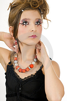 Fashion Girl With Special Eye Makeup And Black Top Royalty Free Stock Photo - Image: 8121835