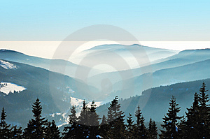 Misty Winter Day In The Mountains Stock Photos - Image: 8122253