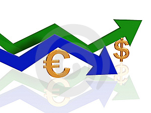 Euro And Dollar Arrows Stock Image - Image: 8123331