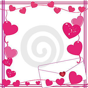 Valentine love letter border Royalty Free Stock Photos
