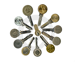 Cash Latchkeys To Financial Success And Stability. Royalty Free Stock Image - Image: 8123846