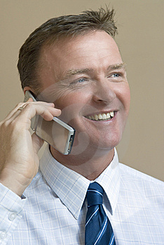 Happy Smiling Businessman On Phone Stock Image - Image: 8124821