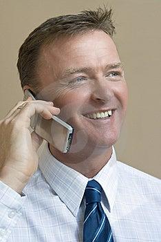 Happy Smiling Businessman On Phone Stock Image - Image: 8124821