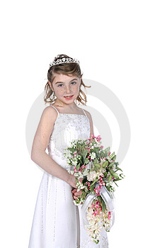Pretty Girl In White Gown Holding Flowers Royalty Free Stock Photo - Image: 8125965
