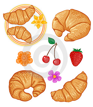Set Of Tasty Croissants And Some Fruits Royalty Free Stock Photos - Image: 8125988