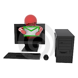 Person In Computer With Letter Royalty Free Stock Photography - Image: 8126307