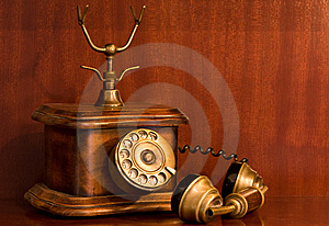Old Wooden Telephone In Use Royalty Free Stock Image - Image: 8126766
