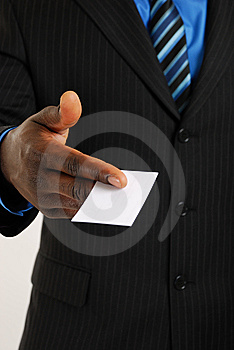 Business man with business card