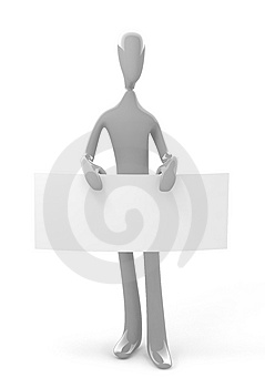 3d Gray Person Holds Blank Empty Board Stock Images - Image: 8126894