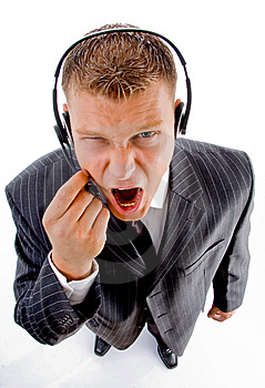 Man Shouting On Phone Call Stock Image - Image: 8131161