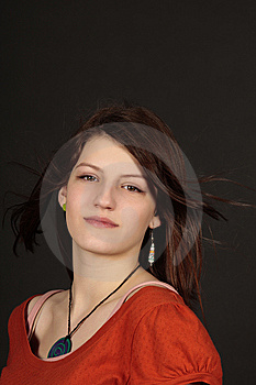 Teen Age Readhead Girl Copy Space Stock Photo - Image: 8131270