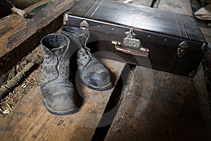 Old Shoes And Valise Royalty Free Stock Photos - Image: 8133498