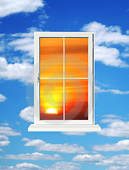Sundown In Window Stock Image - Image: 8134761