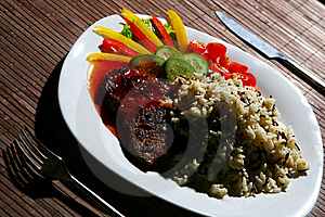 Garnish With Fried Meat And Rice Stock Photo - Image: 8134830