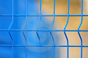 Blue Metal Fence Close Up Stock Images - Image: 8135994
