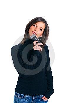 Het Meisje Met Telefoon Royalty-vrije Stock Afbeelding - Afbeelding: 8137006