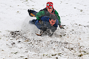 Father And Son On Sledge Stock Photos - Image: 8138903