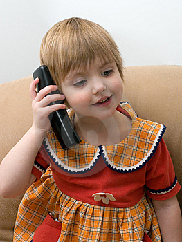 The Little Child With Phone Stock Image - Image: 8141831