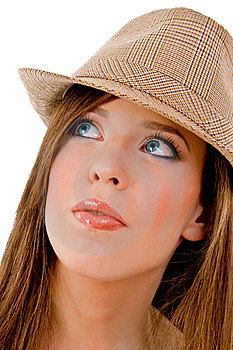 Close View Of Young Model Wearing Hat Royalty Free Stock Photography - Image: 8143747