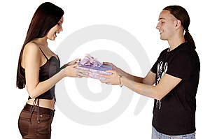 Young Man Giving A Gift To Young Woman Isolated Royalty Free Stock Photo - Image: 8143975