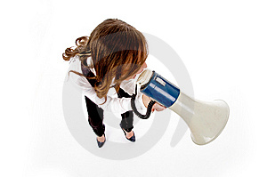 Top View Of Woman Shouting Into Loudspeaker Royalty Free Stock Image - Image: 8144036