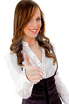 Front View Of Smiling Female Offering Handshake Stock Photography - Image: 8144062
