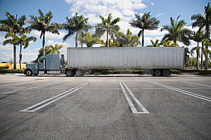 Parked Semi With Tropical Background Stock Photos - Image: 8144733