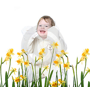 Little Girl With Narcissus Royalty Free Stock Photography - Image: 8147077